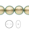 Pearl, Swarovski crystal, crystal iridescent green, 14mm coin (5860). Sold per pkg of 10.