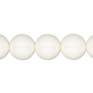 Pearl, Swarovski® crystal gemcolors, ivory, 12mm round with 1.3-1.5mm hole (5811). Sold per pkg of 10.