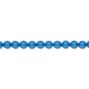 Pearl, Swarovski® crystal gemcolors, lapis, 4mm round (5810). Sold per pkg of 100.