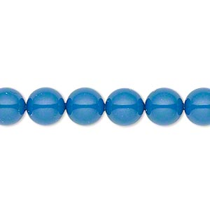 Pearl, Swarovski® crystal gemcolors, lapis, 8mm round (5810). Sold per pkg of 50.