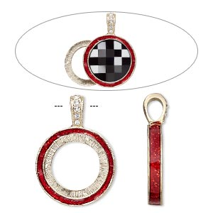 "Pendant, Almost Instant Jewelry®, epoxy / Swarovski® crystals / gold-finished ""pewter"" (zinc-based alloy), light Siam red and crystal clear with glitter, 33x24mm single-sided with 20mm round setting. Sold individually."