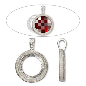 "Pendant, Almost Instant Jewelry®, epoxy / Swarovski® crystals / imitation rhodium-finished ""pewter"" (zinc-based alloy), crystal clear with glitter, 33x24mm single-sided with 20mm round setting. Sold individually."