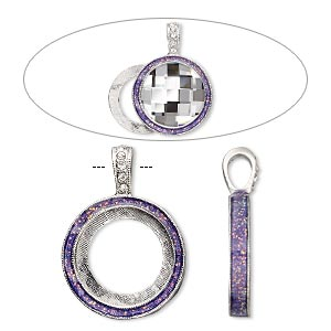 "Pendant, Almost Instant Jewelry®, epoxy / Swarovski® crystals / imitation rhodium-finished ""pewter"" (zinc-based alloy), amethyst purple and crystal clear with glitter, 33x24mm single-sided with 20mm round setting. Sold individually."