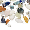 Pendant and drop mix, mother-of-pearl shell / multi-gemstone (natural / dyed / imitation) / glass / silver-finished steel / brass, 8-20mm mixed shape. Sold per 1/4 pound pkg, approximately 30-35 pieces.