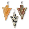 Pendant mix, gemstone (natural / dyed) with gold or silver-finished bail, approximately 30x17mm arrowhead. Sold per pkg of 10.