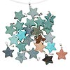 Pendant mix, silver-finished steel and multi-gemstone (natural / dyed / stabilized), mixed colors, 22x20mm star. Sold per pkg of 25.