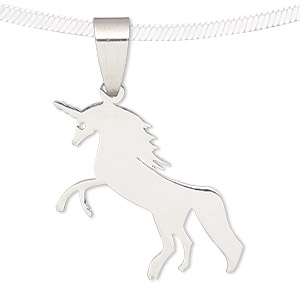 Pendant, stainless steel, 25x22mm matte and shiny unicorn. Sold individually.