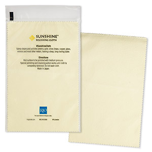 Polishing cloth, Sunshine®, light yellow, 7-3/4 x 5-inch rectangle. Sold individually.