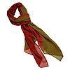 Scarf, polyester, olive green and red, 60x24-inch rectangle. Sold individually.
