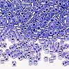 Seed bead, Delica®, glass, ceylon color-lined violet, (DBL249), #8 round. Sold per 50-gram pkg.