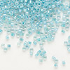 Seed bead, Delica®, glass, color-lined aqua, (DB79), #11 round. Sold per 7.5-gram pkg.