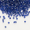 Seed bead, Delica®, glass, color-lined cobalt, (DB277), #11 round. Sold per 7.5-gram pkg.