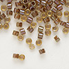 Seed bead, Delica®, glass, color-lined dark amber yellow, (DB287), #11 round. Sold per 50-gram pkg.