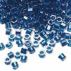 Seed bead, Delica®, glass, color-lined electric blue, (DB920CUT), #11 cut. Sold per 7.5-gram pkg.