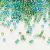 Seed bead, Delica®, glass, color-lined mix aqua and teal, (DB984), #11 round. Sold per 50-gram pkg.