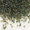 Seed bead, Delica®, glass, color-lined olive, (DB273), #11 round. Sold per 7.5-gram pkg.