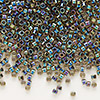 Seed bead, Delica®, glass, color-lined rainbow olive, (DB89), #11 round. Sold per 50-gram pkg.