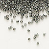 Seed bead, Delica®, glass, nickel-finished silver grey, (DB457), #11 round. Sold per 7.5-gram pkg.
