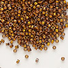 Seed bead, Delica®, glass, opaque 24Kt gold-finished rainbow dark gold, (DB505), #11 round. Sold per pkg of 4 grams.