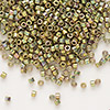 Seed bead, Delica®, glass, opaque 24Kt gold-finished rainbow olive, (DB508), #11 round. Sold per pkg of 50 grams.