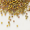 Seed bead, Delica®, glass, opaque 24Kt gold-finished rainbow rose, (DB501), #11 round. Sold per pkg of 4 grams.