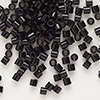 Seed bead, Delica®, glass, opaque black, (DBL10), #8 round. Sold per 50-gram pkg.