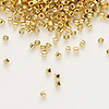 Seed bead, Delica®, glass, opaque bright 24Kt gold-finished, (DB31), #11 round. Sold per pkg of 4 grams.