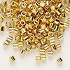 Seed bead, Delica®, glass, opaque bright 24Kt gold-finished, (DBL31), #8 round. Sold per 50-gram pkg.