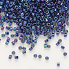 Seed bead, Delica®, glass, opaque luster rainbow midnight purple, (DB135), #11 round. Sold per pkg of 50 grams.