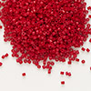 Seed bead, Delica®, glass, opaque matte candy apple red, (DB791), #11 round. Sold per 50-gram pkg.