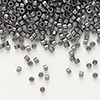 Seed bead, Delica®, glass, opaque matte luster dark grey, (DB306), #11 round. Sold per pkg of 50 grams.