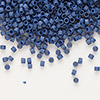 Seed bead, Delica®, glass, opaque matte luster dark violet, (DB377), #11 round. Sold per pkg of 50 grams.