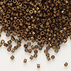 Seed bead, Delica®, glass, opaque matte metallic luster bronze, (DB1051), #11 round. Sold per pkg of 50 grams.