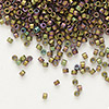 Seed bead, Delica®, glass, opaque matte metallic luster rainbow rose green, (DB1055), #11 round. Sold per pkg of 50 grams.