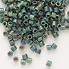 Seed bead, Delica®, glass, opaque matte metallic rainbow dark green, (DBL324), #8 round. Sold per 50-gram pkg.