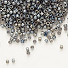 Seed bead, Delica®, glass, opaque matte rainbow medium grey, (DB307), #11 round. Sold per pkg of 7.5 grams.