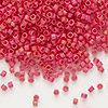 Seed bead, Delica®, glass, opaque matte rainbow orange-red, (DB874), #11 round. Sold per 50-grams pkg.