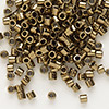 Seed bead, Delica®, glass, opaque metallic bronze, (DBL22), #8 round. Sold per 50-gram pkg.