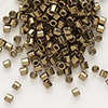 Seed bead, Delica®, glass, opaque metallic bronze, (DBL22CUT), #8 cut. Sold per 7.5-gram pkg.