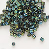 Seed bead, Delica®, glass, opaque metallic iris dark green, (DBL27), #8 round, 1.5mm hole. Sold per pkg of 50 grams.