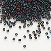 Seed bead, Delica®, glass, opaque metallic luster rainbow midnight blue, (DB1003), #11 round. Sold per pkg of 7.5 grams.