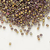 Seed bead, Delica®, glass, opaque metallic luster rainbow rose, (DB1010), #11 round. Sold per pkg of 7.5 grams.
