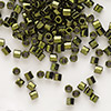 Seed bead, Delica®, glass, opaque metallic olive, (DBL11CUT), #8 cut. Sold per 7.5-gram pkg.