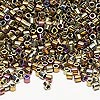 Seed bead, Delica®, glass, opaque nickel-finished rainbow raspberry, (DBL29), #8 round. Sold per 7.5-gram pkg.