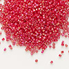 Seed bead, Delica®, glass, opaque rainbow dark red, (DB162), #11 round. Sold per pkg of 50 grams.