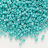 Seed bead, Delica®, glass, opaque rainbow turquoise green, (DB166), #11 round. Sold per pkg of 50 grams.