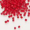 Seed bead, Delica®, glass, opaque red, (DBL723), #8 round, 1.5mm hole. Sold per 7.5-gram pkg.