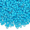 Seed bead, Delica®, glass, opaque turquoise blue, (DBL725), #8 round, 1.5mm hole. Sold per pkg of 7.5 grams.