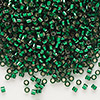 Seed bead, Delica®, glass, silver-lined forest green, (DB148), #11 round. Sold per pkg of 50 grams.