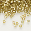 Seed bead, Delica®, glass, silver-lined frosted jonquil, (DB686), #11 round. Sold per 7.5-gram pkg.